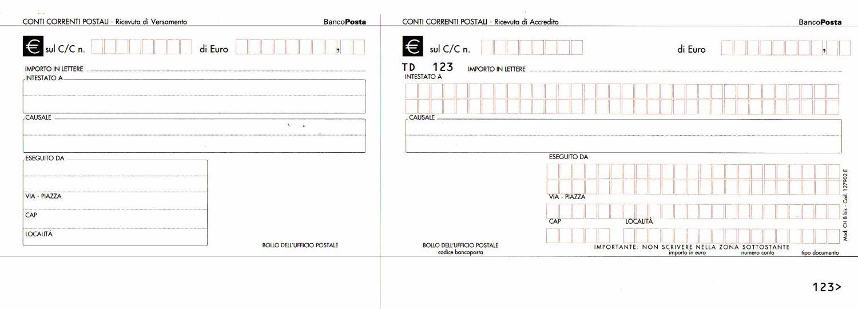 Modulo per bonifico postale da scaricare
