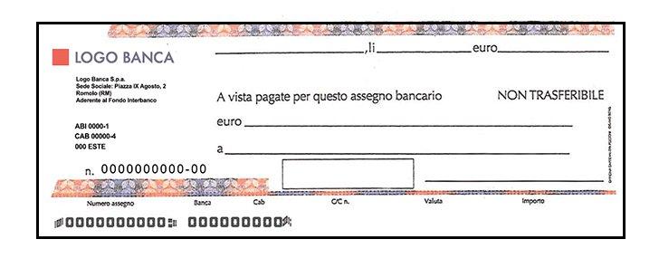 Fac simile assegno bancario for Bonifico parlante